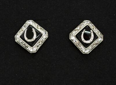 Horseshoe Earrings w/ Swarovski Crystal & Stone