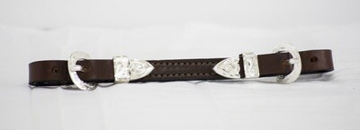 Western Silver Show Leather Curb Strap