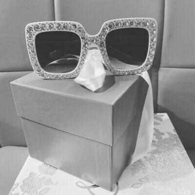 Embellished Oversized Women Sunglasses - White