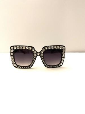 Embellished Oversized Women Sunglasses - Black