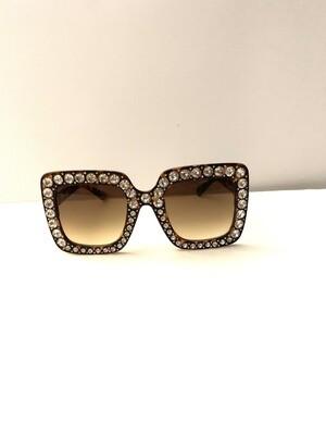 Embellished Oversized Women Sunglasses - Tortoise