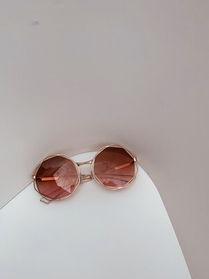 Small Oversized Women Sunglasses- Brown w/gold Trim
