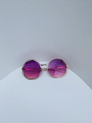 Small Oversized Women Sunglasses- Purple w/gold trim