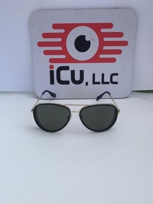 Aviator Retro Men Sunglasses - Black w/Silver Trim