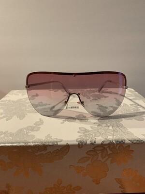 Oversized Colorful Flat Top Women Sunglasses - Pink