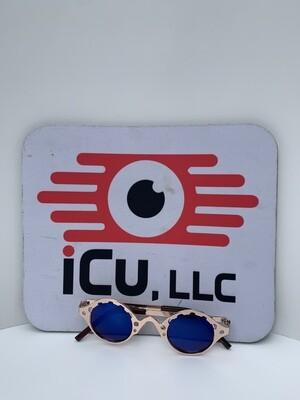 Small Round Retro Women Sunglasses - Blue w/ Gold Trim