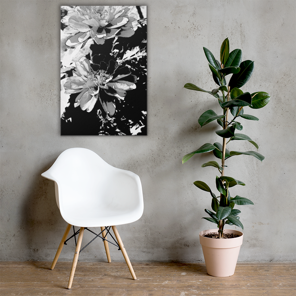 """Mono Floral"" Large Black & White Canvas Print"