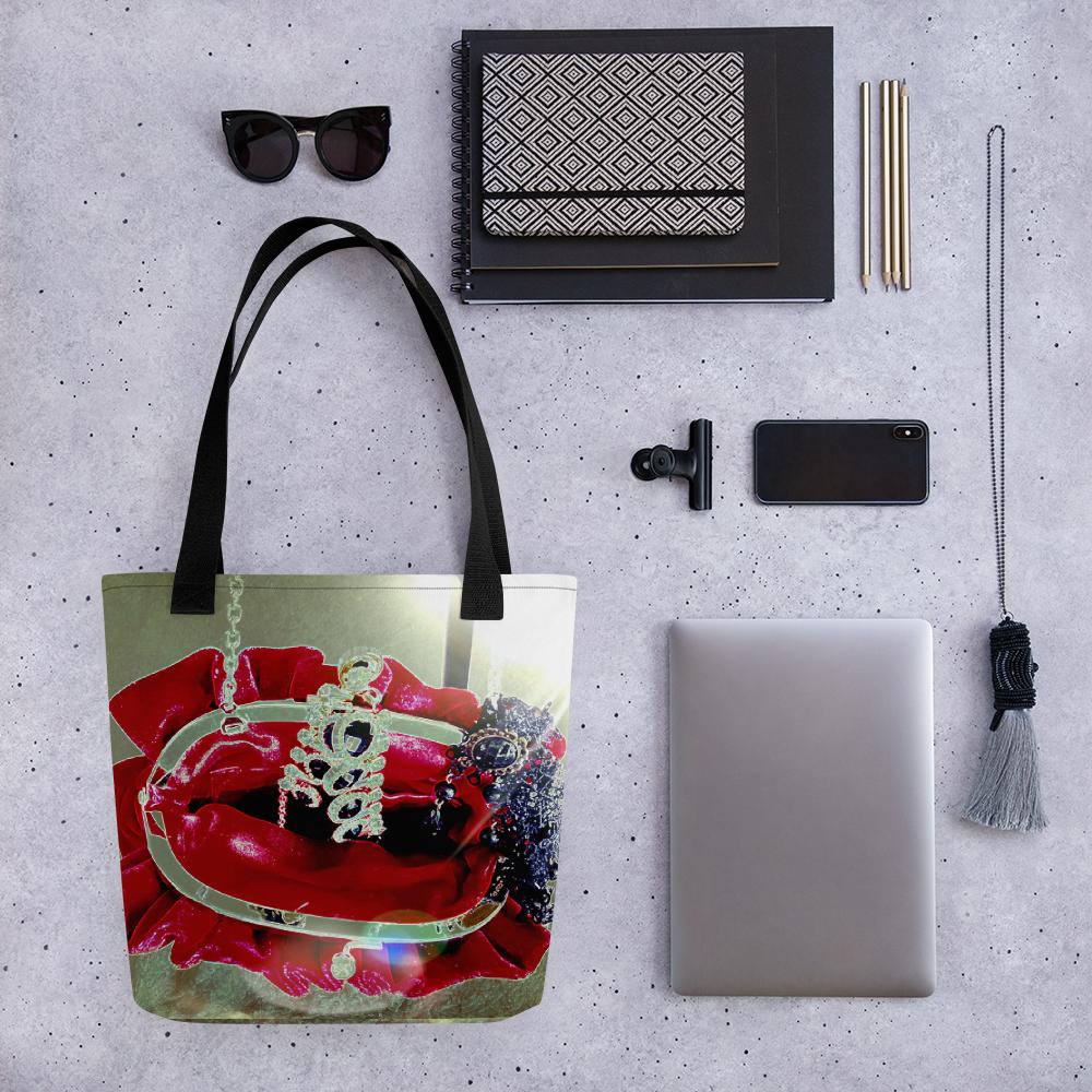 """Tote Bag """"Red Velvet Bag of Jewels"""" Luxury Printed Tote"""