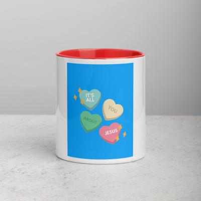"""Love Hearts Jesus"" Accent Tea Cup Coffee Mug 11oz"