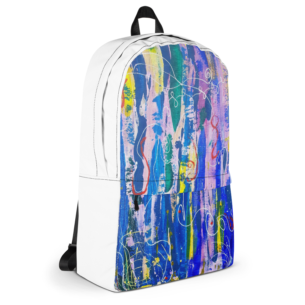 Unisex Backpack with Graffiti Art Print (White)​