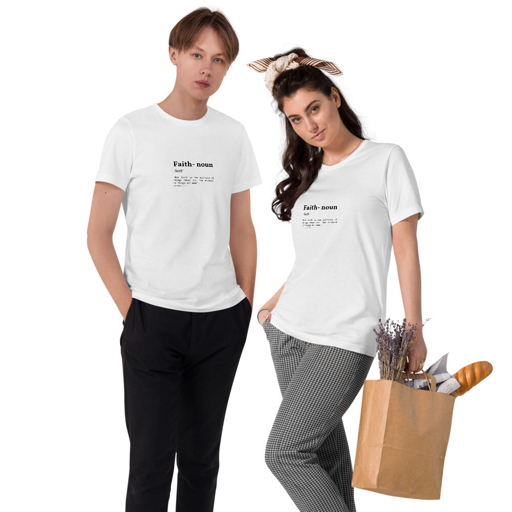 "Unisex Organic White Cotton ""Faith"" T-Shirt"