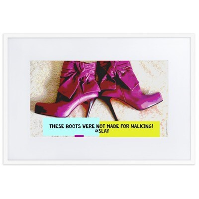 """""""Pink Purple Plum Red Heels"""" Quirky Fashion Framed Poster"""