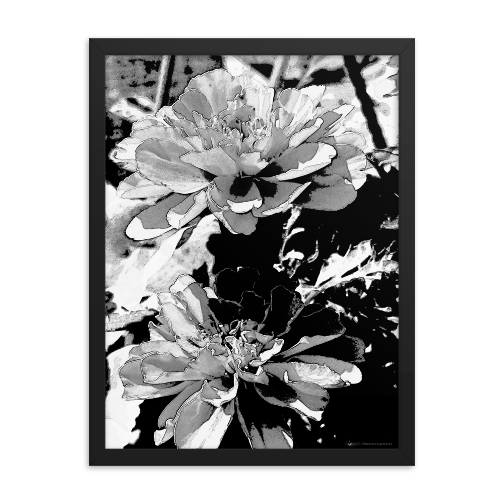 """Monochrome Floral Print"" Large Black & White Framed Poster"