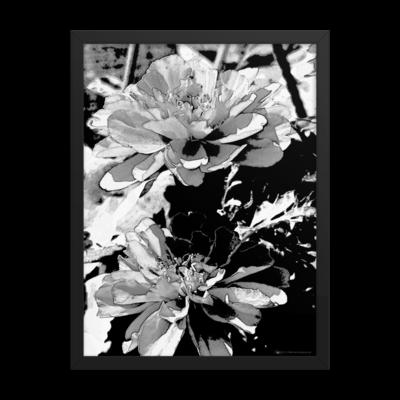 """Monochrome Floral Print"" Large Black & White Framed Poster"