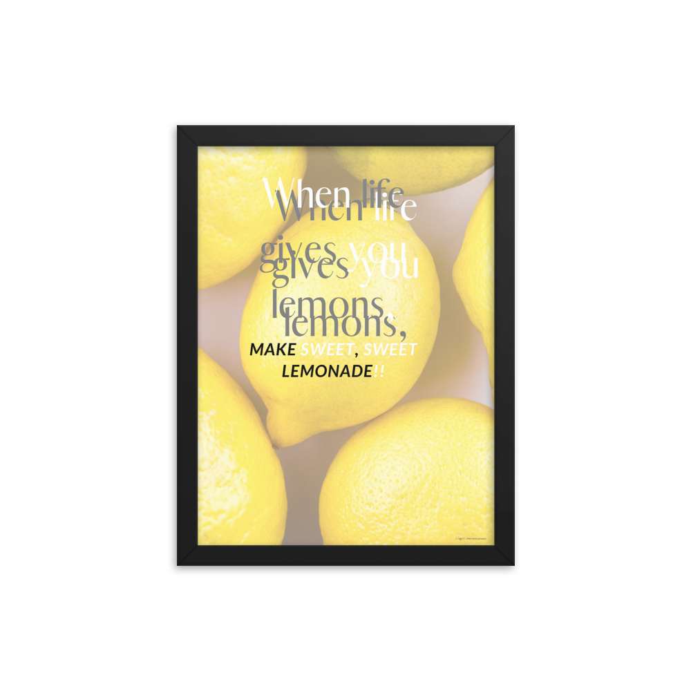 """Sweet Yellow Lemons"" Motivational Quote Wall Art Framed Poster"
