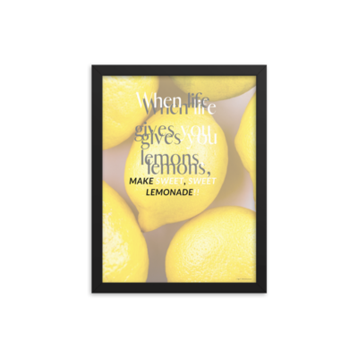 """Sweet Yellow Lemons"" Motivational Quote Wall Art Framed Poster"