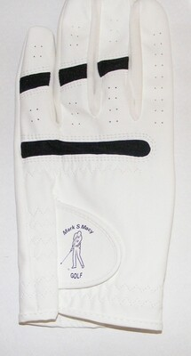 Logo's White Synthetic Leather Adult/Junior Uni-Sex Golf Glove