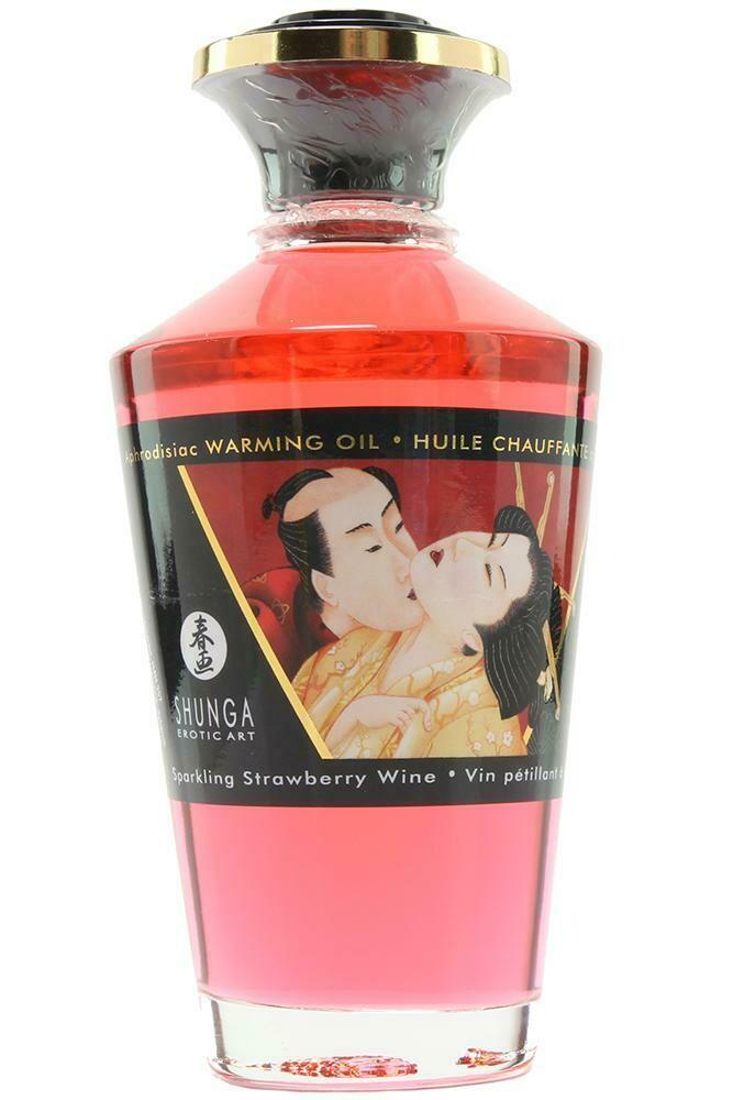 Aphrodisiac Warming Oil 3.5oz/100ml in Sparkling Strawberry
