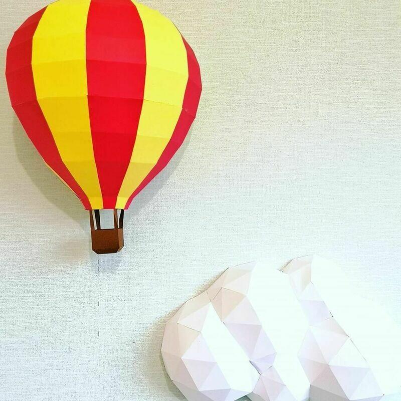 Air Balloon- 3D Paper Wall Art- Nursery Wall Art- Hot Air Balloon Nursery Art- Hot Air Balloon Wall Art