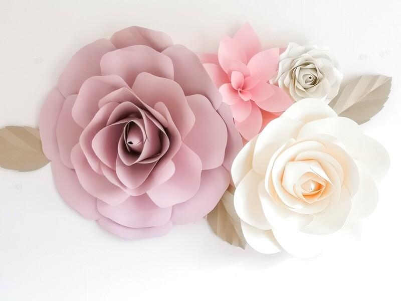 Rosa- Giant Paper Flowers- Nursery Wall Flowers- Nursery Wall Art -Paper Flower Décor- Elegant Nursery Wall Art
