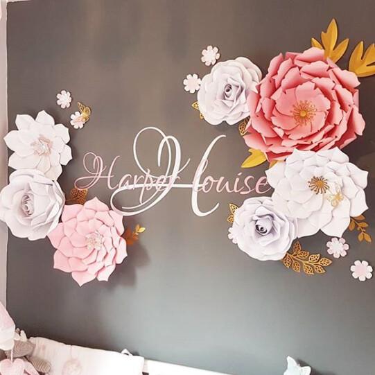 Harper- Giant Paper Flowers- Nursery Wall Flowers- Nursery Wall Art -Paper Flower Décor- Elegant Nursery Wall Art- Large Paper Flowers