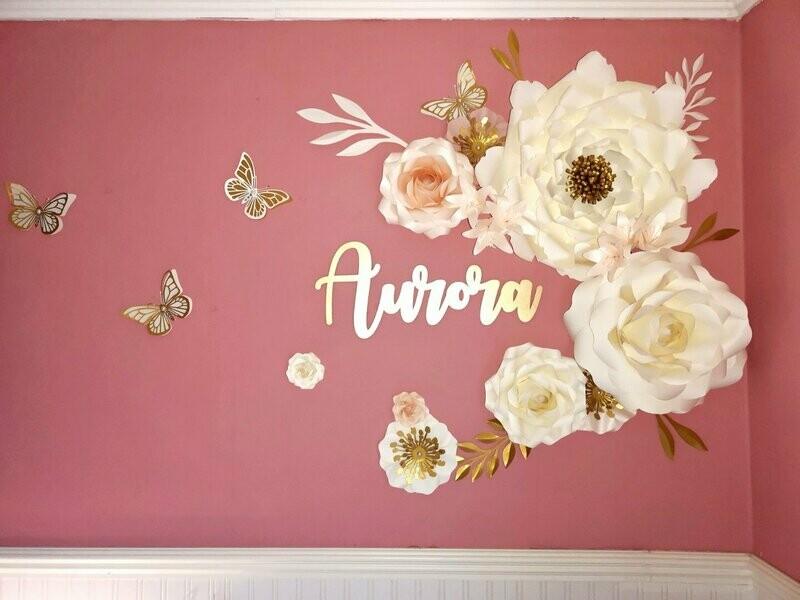 Aurora- Giant Paper Flowers- Nursery Wall Flowers- Nursery Wall Art -Paper Flower Decor- Elegant Nursery Wall Art