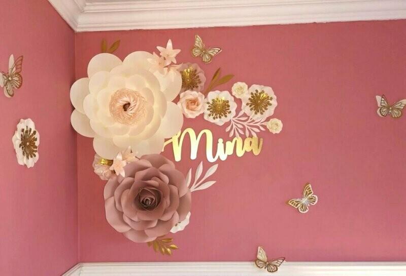 Mina- Giant Paper Flowers- Nursery Wall Flowers- Nursery Wall Art -Paper Flower Décor- Elegant Nursery Wall Art