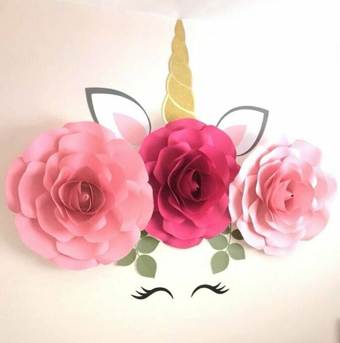 Lottie- Unicorn Bedroom Decor- Unicorn Flower Crown Wall Art- Unicorn Wall Art- Unicorn Flowers- Unicorn Paper Rose Set
