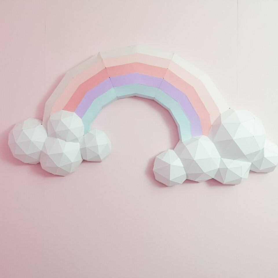 Over the Rainbow- 3D Paper Wall Art- Nursery Wall Art- 3D Rainbow Wall Art- Rainbow Nursery Decor- Rainbow Nursery Wall Art