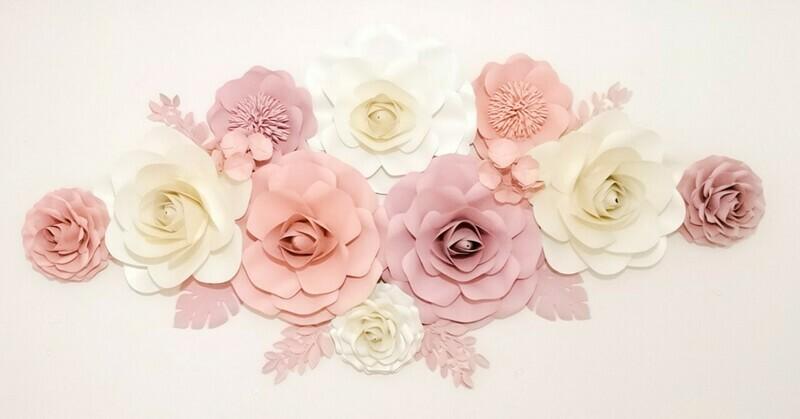 Rose Garden- Giant Paper Flowers- Nursery Wall Flowers- Nursery Wall Art -Paper Flower Décor- Elegant Nursery Wall Art