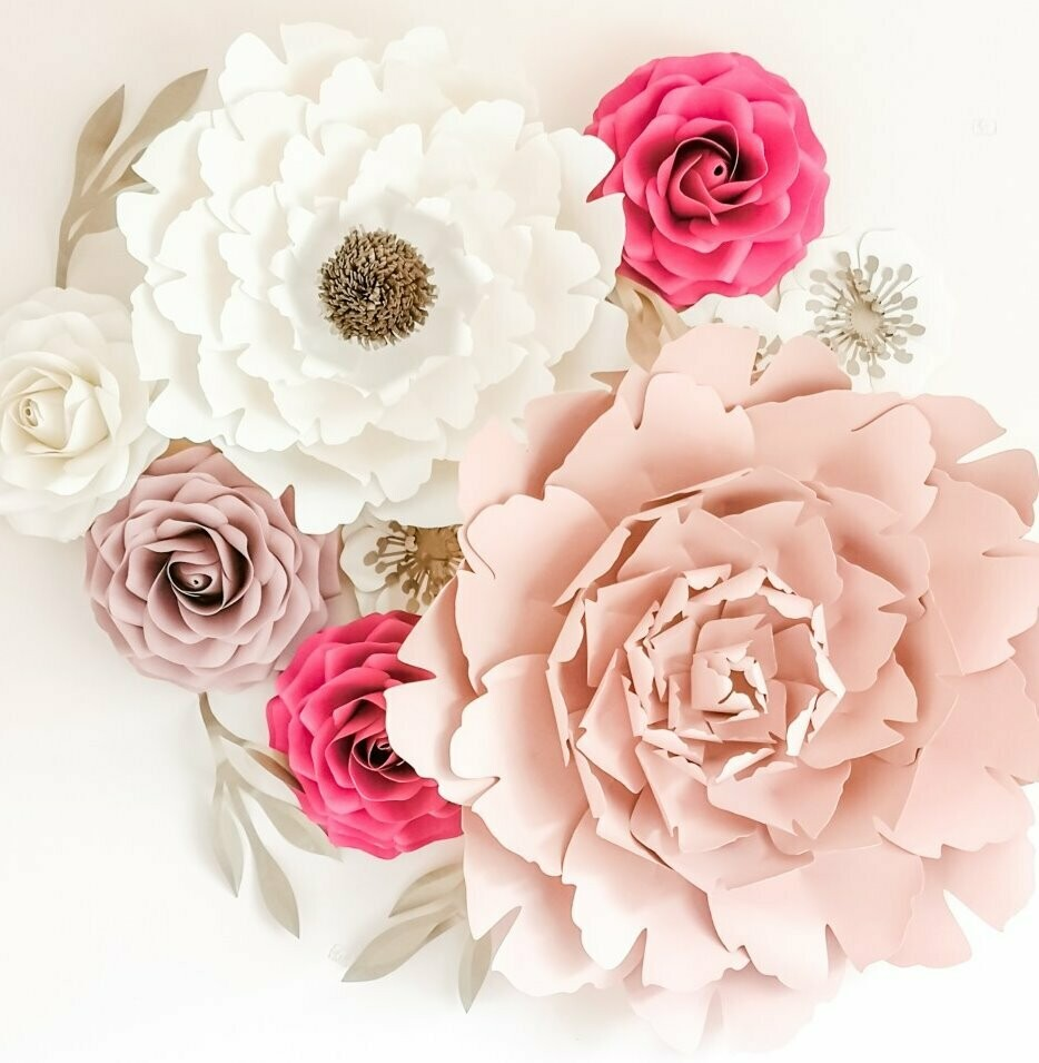 Amour- Giant Paper Flowers- Nursery Wall Flowers- Nursery Wall Art -Paper Flower Decor- Elegant Nursery Wall Art