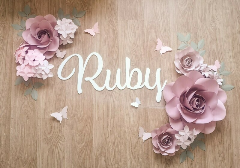 Lovely Ruby- Giant Paper Flowers- Nursery Wall Flowers- Nursery Wall Art -Paper Flower Décor- Elegant Nursery Wall Art