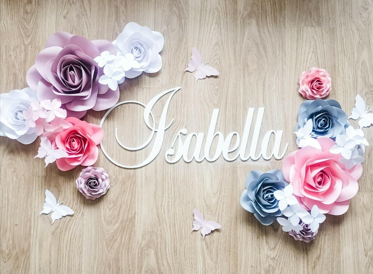 Flutterbye Baby- Giant Paper Flowers- Nursery Wall Flowers- Nursery Wall Art -Paper Flower Décor- Elegant Nursery Wall Art