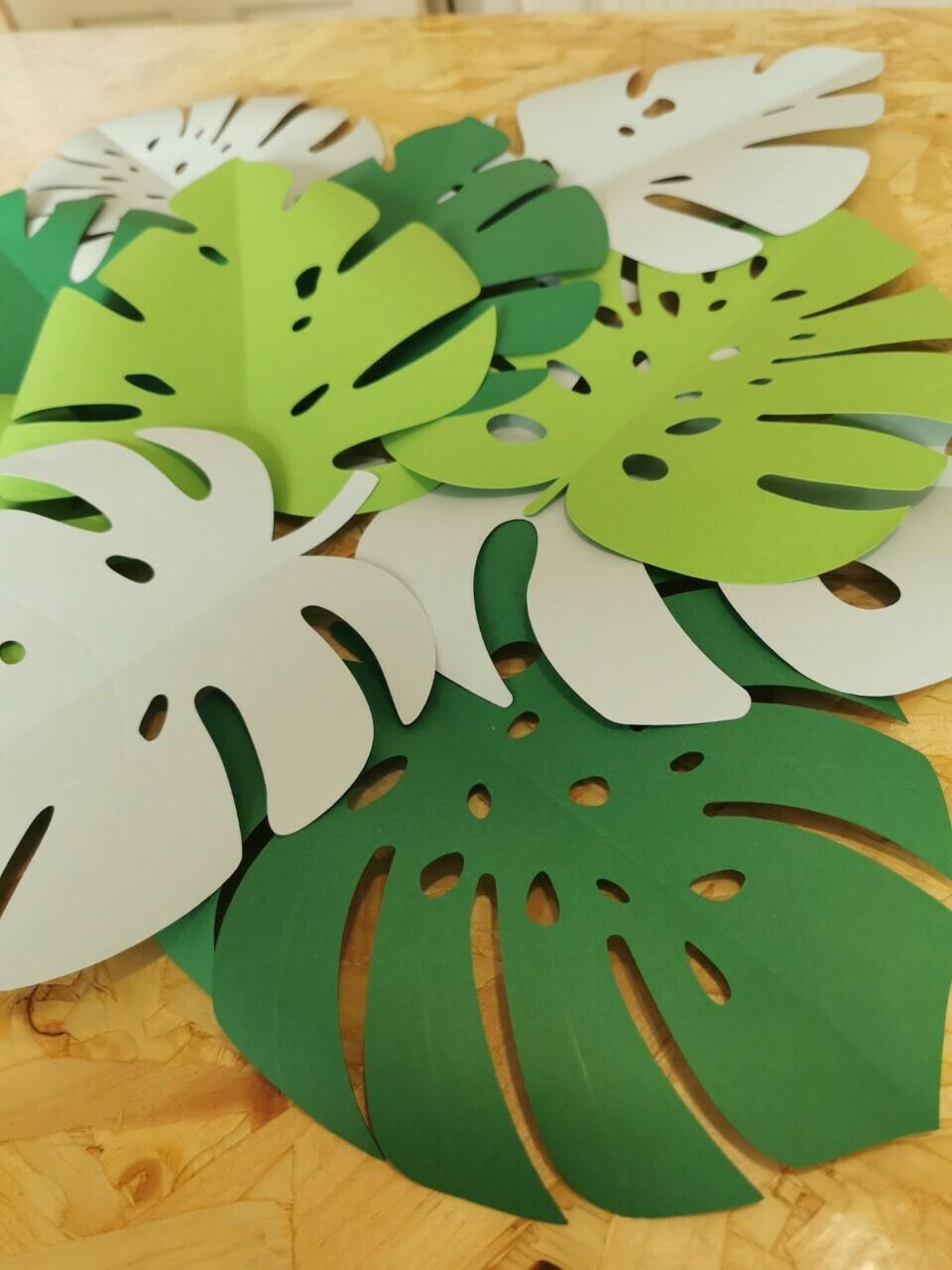 Tropical Leaves- Nursery Wall Art - Jungle Theme Nursery - Paper Leaves