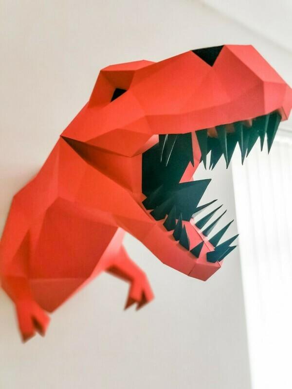 Ste-Rex - 3D Paper Wall Art- Nursery Wall Art- 3D Dinosaur Wall Art- Dinosaur Nursery Decor- Dinosaur Nursery Wall Art