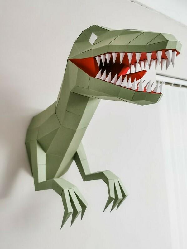 Phil-ociraptor - 3D Paper Wall Art- Nursery Wall Art- 3D Dinosaur Wall Art- Dinosaur Nursery Decor- Dinosaur Nursery Wall Art