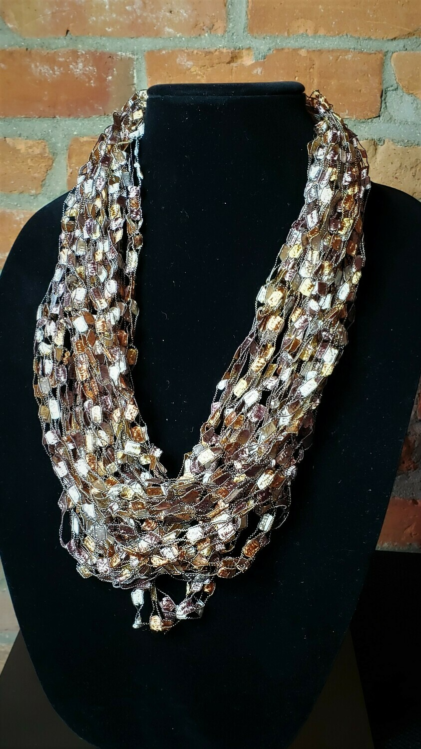 Caramel Mauve Ladder Yarn Necklace