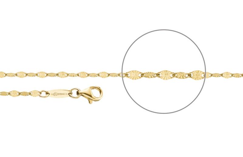 Plättchenkette diamantiert vergoldet