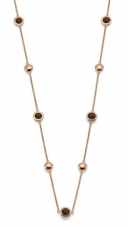 Halskette Rosé mit Rauchquarz Silber 925 rosé Vergoldet