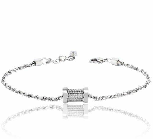 Kordel Armband Edelstahl mit Charmes