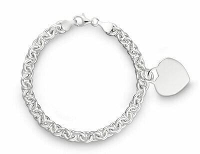 Armband Rundanker mit Herz Anhänger Silber 925