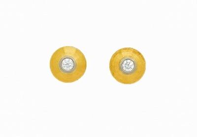 Solitär - Ohrstecker mit je 1 Brillanten Gelb -/ Weissgold 750