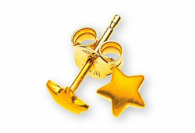 Kinder Ohrstecker STERNE Gelbgold 750