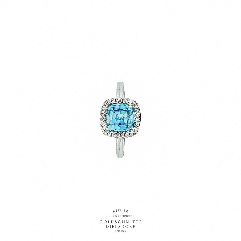 Solitär Ring mit blauem Zirkon mit Brillant - Entourage Weissgold 750