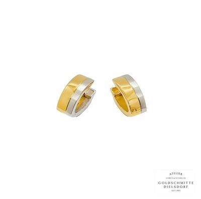 Klappcreolen bicolor Gelbgold 750 / Weissgold 750
