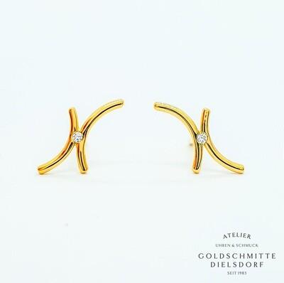 Ohrstecker Gelbgold 750 mit 2 Brillanten
