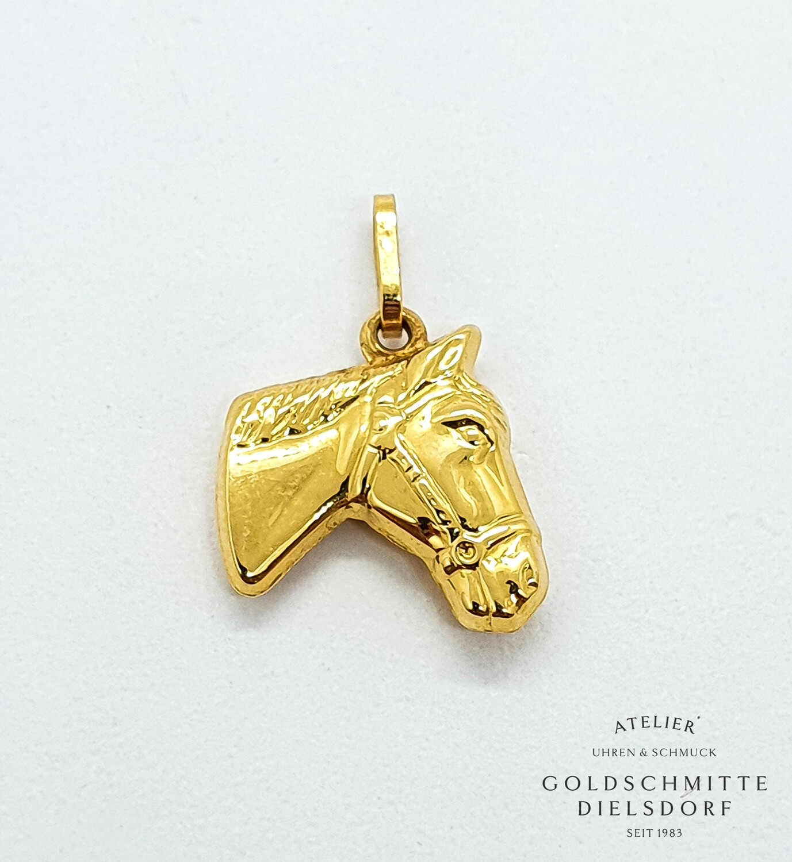 Anhänger PFERDEKOPF Gelbgold 750