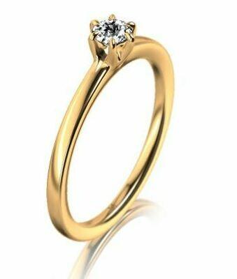 Solitär Ring mit 1 Brillant Gelbgold 750