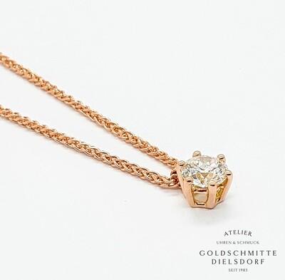 Colitär mit 1 Brillant 0,51 ct. Rotgold 750