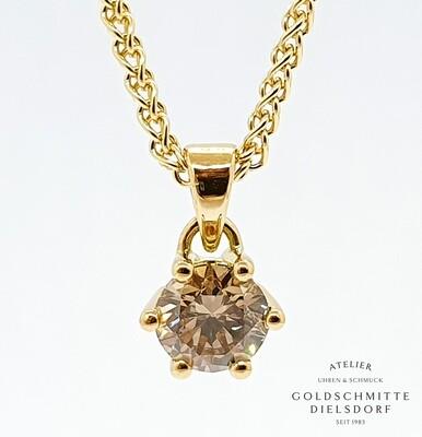 Colitär mit 1 Brillant 1,01 ct. Gelbgold 750